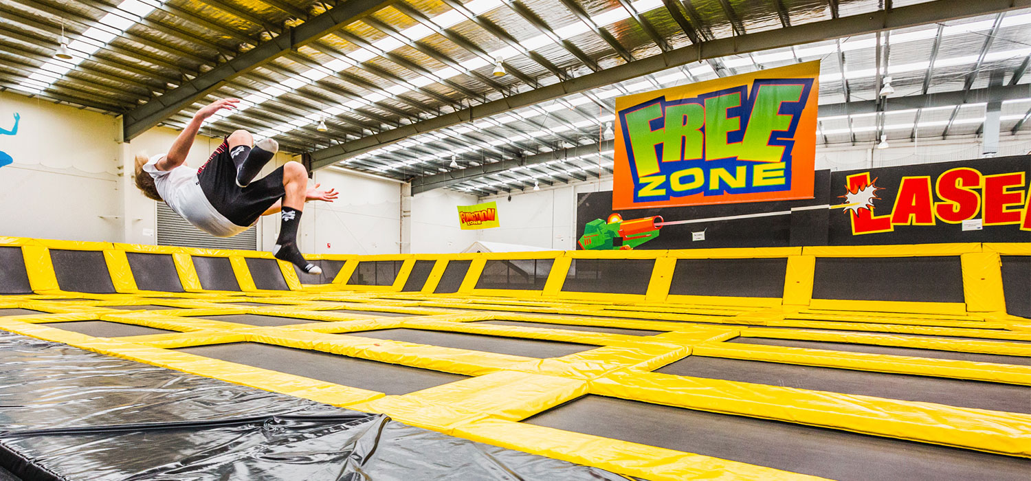 Boy jumping in freezone in Australia's largest indoor entertainment centre